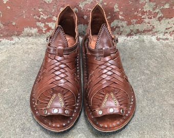 PIHUAMO PREMIUM BROWN old vintage mexican sandals men's huaraches mexicanos handmade hechos a mano authentic leather