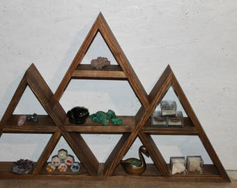 triple shelf curio shelf triangle shelf display shelf geometric shelf crystal display mountain shelf rustic shelf pyramid shelf  peak shelf