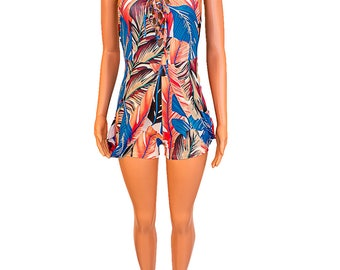 Leaf Print Sleeveless Maxi Dress/Romper - Blue - Pink
