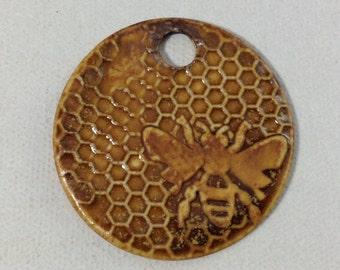 Amber Bee Pendant, Bee Beads, Bee Medallion Bead,