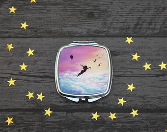 Let go and Fly, Compact Mirror, Inspirational gift, Fantasy Art, UK Seller.