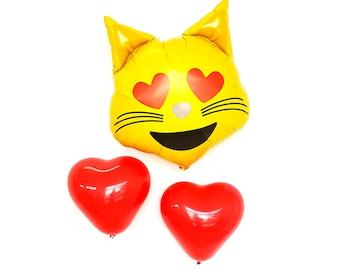 Emoji cat Balloon. emoji cat balloon. Emoji balloons. Smiley faces. Emoji love balloons. Heart Emoji. Love emoji party. Emoji. emoji
