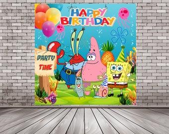 Sponge Bob Backdrop, Spongebob Poster, Sponge Bob Posters, Sponge Bob Party, Sponge Bob Birthday, Patrick Sponge Bob, Sponge Bob Digital
