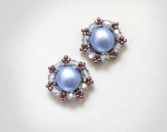 Blue stud earrings, light blue earrings, blue bridesmaid bridal earrings gift, dusty blue wedding slate blue rhinestone earrings under 20