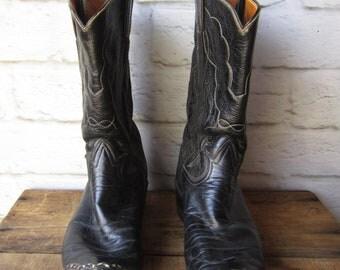 Black Cowboy Boots Vintage Tony Lama Western Boots Womens Size 8 / 9