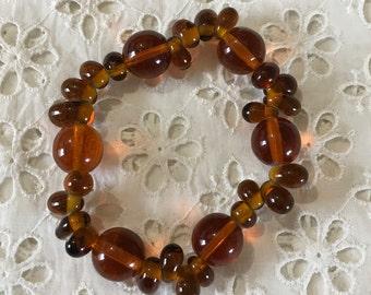 Amber glass bead stretch bracelet