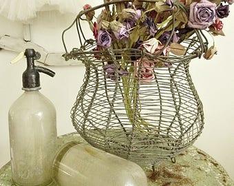 Beautiful antique wire basket, metal wire, Fil de Fer, FRANCE...CHARMANT!