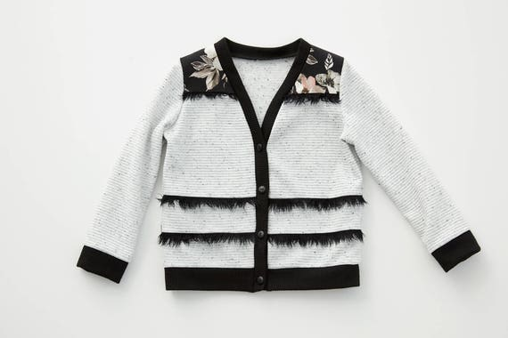 DAPHNÉ - long sleeves button through cardigan, cover-up, jersey or pullover for kids: boys or girls - oreo textured white