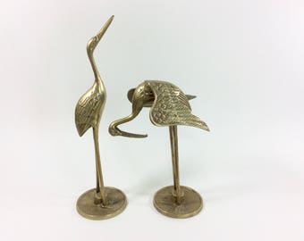Pair of Vintage Brass Cranes, Brass Egrets Statues