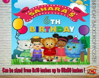 Personalized Daniel Tiger Birthday Printable Poster, Daniel Tiger Backdrop, Daniel Tiger Birthday Sign Printable, from 8x10 up to 60x60 in.