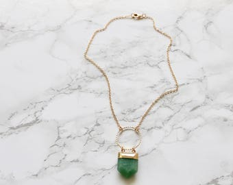 Shield Necklace - Aventurine Shield Necklace - Gemstone Necklace - Natural Stone - Gemstone Jewelry - Gifts for Her -