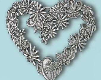 Flower Heart, Pewter, Framed