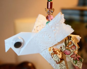 Origami Cute Lacy Dove With Autumn Colors Bow Hanging Ornament