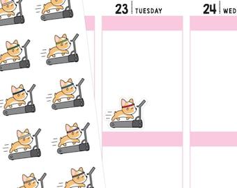 Running Planner Stickers, Fitness Stickers, Treadmill Stickers, Running Stickers, Corgi Stickers, Cute Stickers