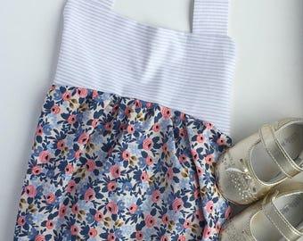 baby girl romper, romper, baby romper, summer romper, boho romper, stripes, newborn photos, blue floral
