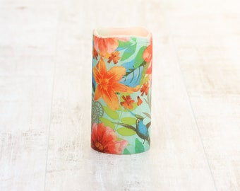Whimsical Decorative Candle With Tropical Flower Print, Bohemian Home Decor, LED Candle, Whimsical Home Decor, Gift For Her