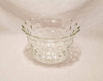 FOSTORIA AMERICAN CUBE Clear Glass Flared Bowl Early American Crystal Cubist Vintage