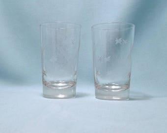 STARS STRIPES JUICE Glasses Clear Etched Crystal Brunch Glassware Old Hollywood 1960's Vintage Retro