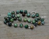 Men's African Turquoise Necklace ~ Jasper Stones ~ Hippie Style ~ Healing Stones ~ Boho  ~ Unisex Jewellery ~ Gift for Him ~ Father's Day