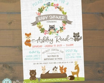 woodland animals baby shower invitation printable the party darling