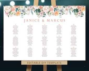 Chalkboard wedding seating chart large reception signs for Bridal shower seating chart template