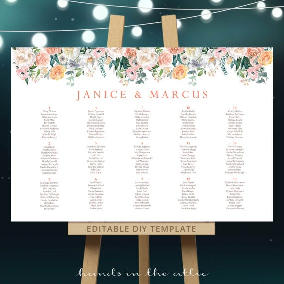 Baby Shower Seating: Floral Seating Chart Template, Pink Roses Coral Table Plan