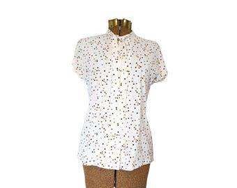1970s Tie Neck Blouse 1970s Polkadot Shirt Vintage Button Down Shirt 70s Shirt Polkadot Blouse Vintage Casual Wear Koret of California