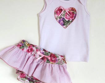 Baby set, Baby girl set, Baby Shower gift, Appliqued onesie or t-shirt and diaper cover set. Free headband  Size 0 - 12 months available