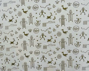 "Tribal Printed White Fabric, Designer Fabric, Quilt Material, Home Decor Fabric, 42"" Inch Cotton Fabric By The Yard ZBC7011B"