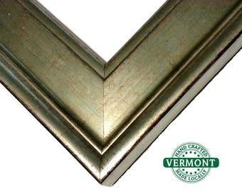 Gilt Silver Picture Frame, Photo Frame Real Silver Leaf,  8x10, 11x14, 16x20, 17x20, 20x24, 24x36, Gilded Silver Frame, Custom Picture Frame