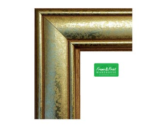 Box of 6/12 - Gold Leaf WOOD Picture Frames, Readymade, Photo Frames Gold, Wholesale w/ Glass, Backer & Hanger 5x7 8x10 11x14 16x20 20x24