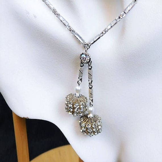 Tassel Necklace / Rhinestone / Art Deco / Mid Century / 20""