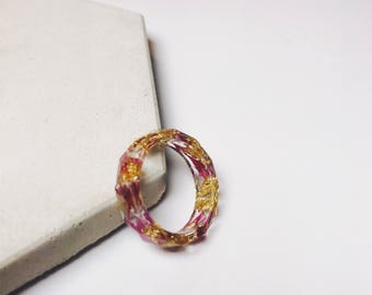 Resin pink and gold ring with Real dried flower ring gold leaf flake resin ring petals