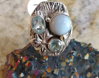 Abstract Larimar and Blue Topaz Ring, Size 7