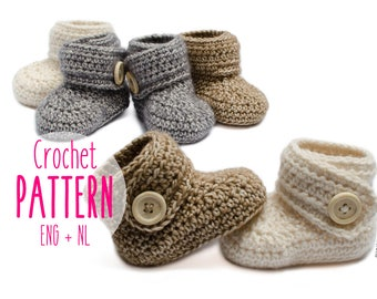 Baby booties Crochet pattern Baby boots Baby shoes 4 sizes included Instant PDF download