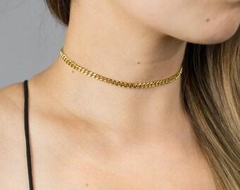 Thick Gold Chain Choker / Statement Choker Necklace / Thick Gold Choker / Gold Statement Necklace / 90s Choker