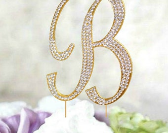 "Letter ""B""  Cake Topper in silver OR Gold Tone crystal rhinestones. cake jewelry for weddings, anniversary or birthday cake decoration"