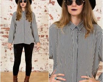 Navy Blue Stripe Shirt / 90s Liz Claiborne / Size 8