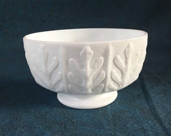 Vintage FTD Milk Glass Embossed Oak Leaf Planter