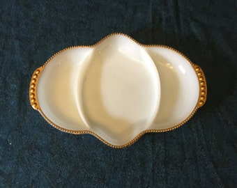 Vintage Anchor Hocking Fire King Divided Milk Glass Relish Dish with 22k Gold Trim