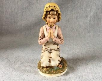 Vintage Roman Little  Girl Praying Figurine, Praying Farm Girl Figurine, Spiritual Gift, Christian Gift