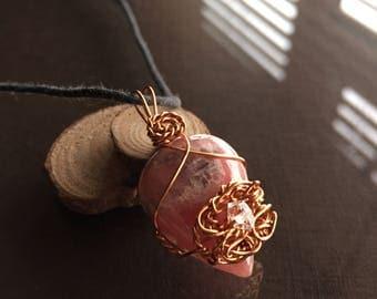 Rhodochrosite and Herkimer Diamond Necklace