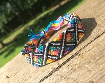 Criss-Cross Rainbow Design Friendship Bracelet or Bookmark