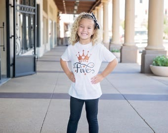 5th Birthday Shirt - Five Birthday Girl - Five Year Old - 5 Birthday Gift - 5th Birthday Outfit- Glitter Birthday T-Shirt