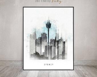 Sydney skyline poster contemporary art print   ArtPrintsVicky.com
