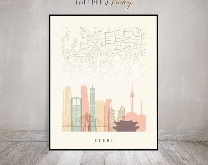 Seoul map, Seoul art print, Seoul poster, Seoul skyline, Wall art, South Korea, City print, Wall art, Home Decor, Travel Gift ArtPrintsVicky