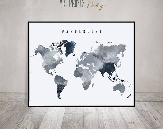 wanderlust world map poster in grey - blue colours | ArtPrintsVicky.com