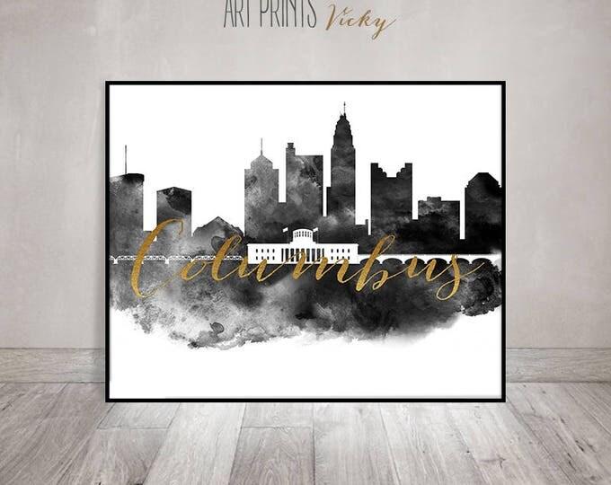 Columbus print art black and white poster, Columbus skyline, watercolour, Wall art, Wall decor, Travel Gift,  faux gold, ArtPrintsVicky