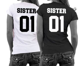 Sisters shirts ANY numbers for adults sister tshirts best friend shirts couple shirts matching sister shirts besties shirts sister 01 02