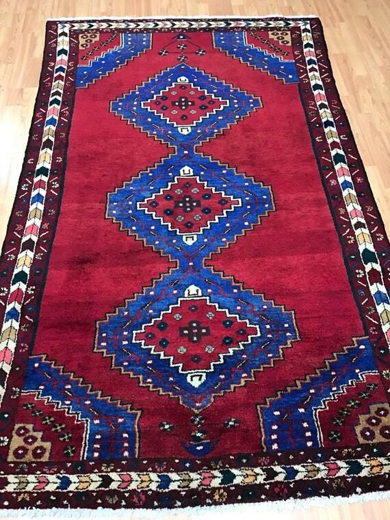 "4'4"" x 7'1"" Persian Hamadan Oriental Rug - 1950s - Hand Made - 100% Wool"